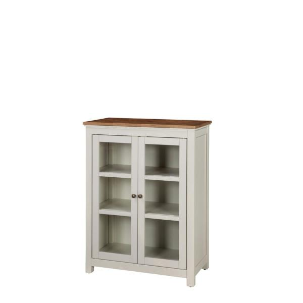 Alaterre Furniture Savannah Ivory with Natural Wood Top Pie Safe Cabinet