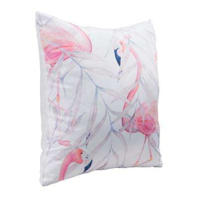 Mr Flamingo Multicolor Decorative Pillow