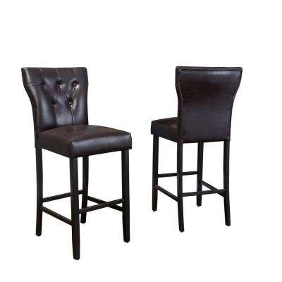 Cadwallader 30.75 in. Brown Tufted Leather Barstool (Set of 2)
