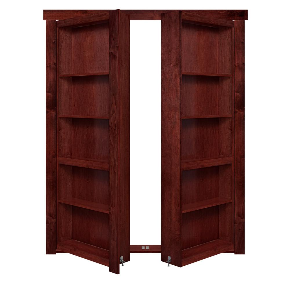 The Murphy Door 48 in. x 80 in. Flush Mount Assembled Maple Cherry Stained Out-Swing Solid Core Interior French Bookcase Door