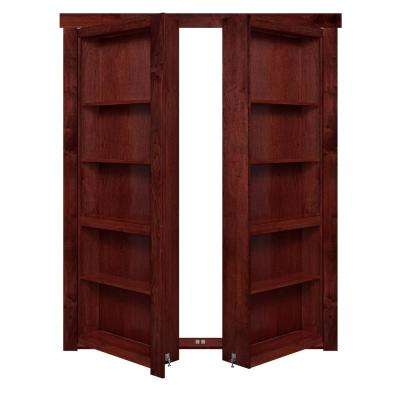 60 in. x 80 in. Flush Mount Assembled Maple Cherry Stained Out-Swing Solid Core Interior French Bookcase Door