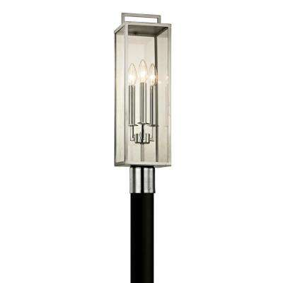 Beckham 3-Light Polished Stainless 23.75 in. H Outdoor Post Light with Clear Glass