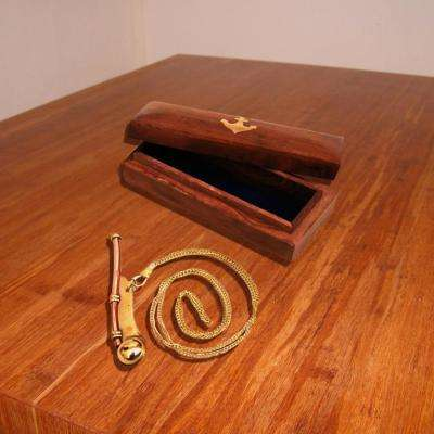 Bosun Brass and Copper Navy Call Whistle with Wood Box