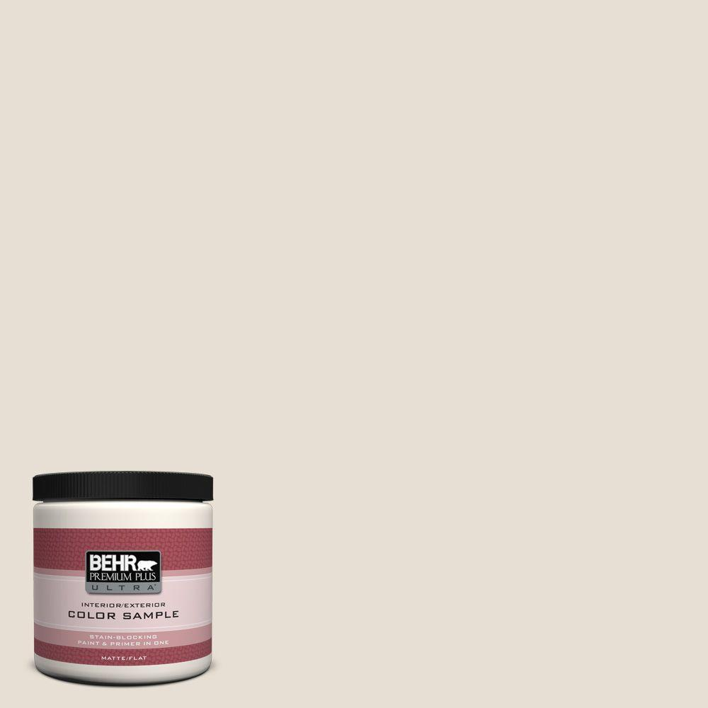 Behr premium plus ultra 8 oz 73 off white matte interior exterior paint and primer in one for Behr exterior white paint colors