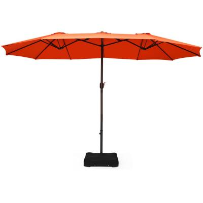15 ft. Market Double Sided Umbrella Outdoor Patio Umbrella with Crank and Base Orange