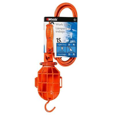 75-Watt 15 ft. 18/2 SJTW Incandescent Portable Guarded Trouble Work Light with Hanging Hook