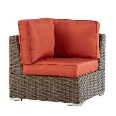 Camari Mocha Wicker Corner Outdoor Sectional Chair with Red Cushion