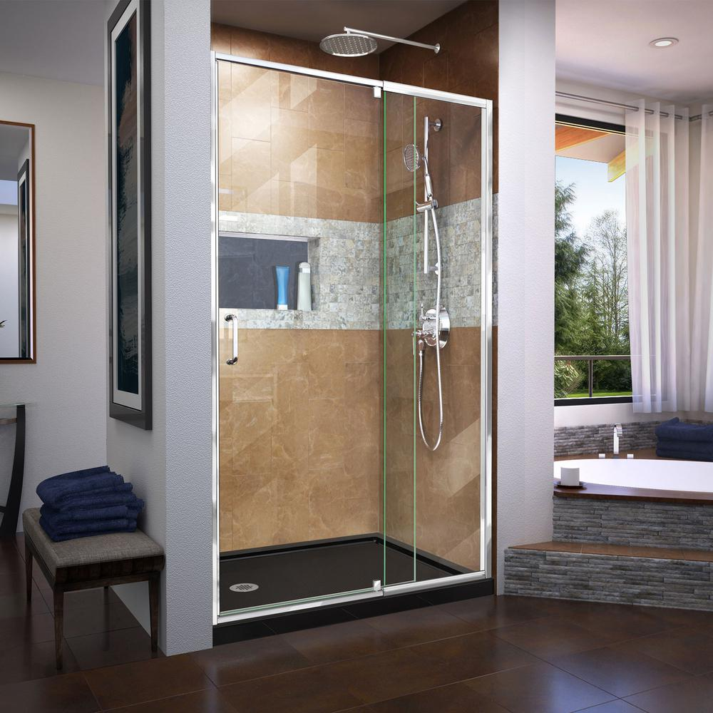 DreamLine Flex 44 in. to 48 in. x 72 in. Framed Pivot Shower & DreamLine Flex 44 in. to 48 in. x 72 in. Framed Pivot Shower Door in ...