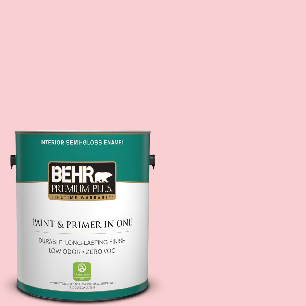 BEHR Premium Plus 1-gal. #130A-2 Fading Rose Zero VOC Semi-Gloss Enamel Interior Paint