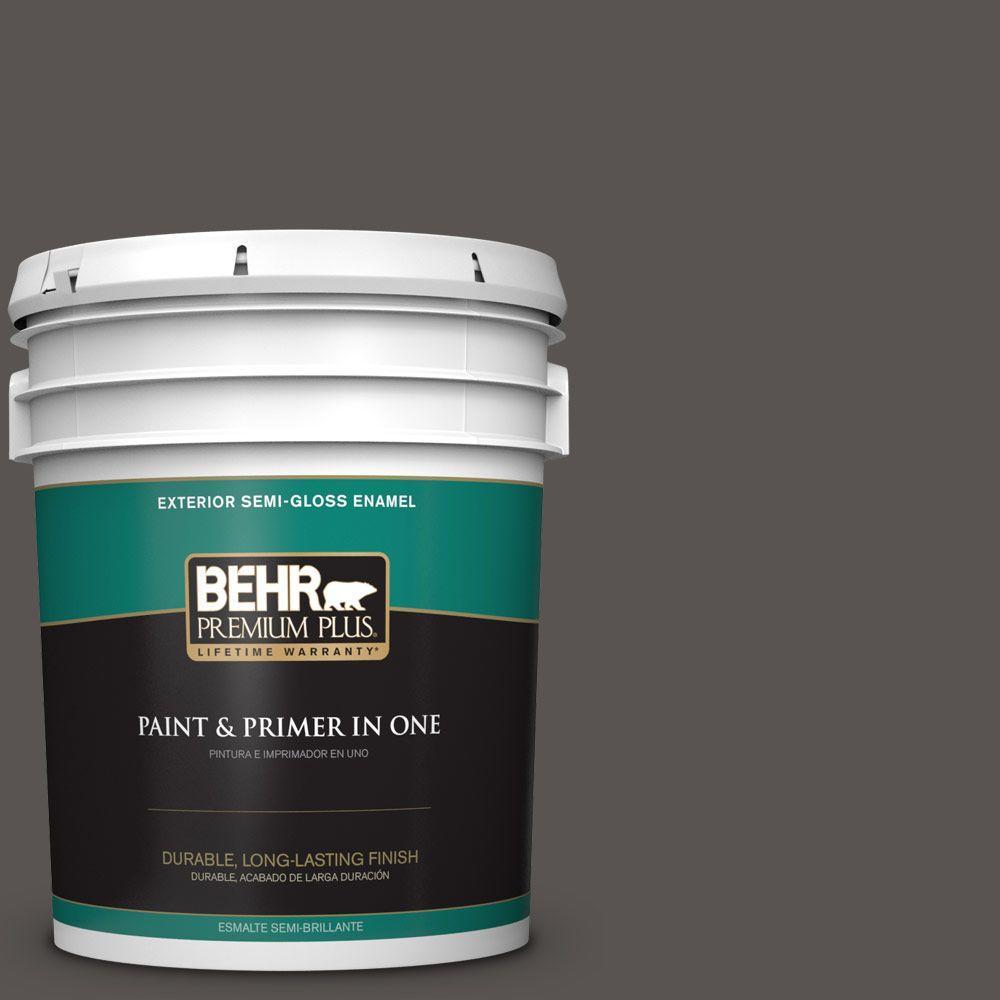 BEHR Premium Plus 5-gal. #BXC-23 Catskill Brown Semi-Gloss Enamel Exterior Paint