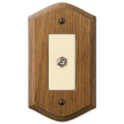 Country 1 Gang Coax Wood Wall Plate - Medium Oak