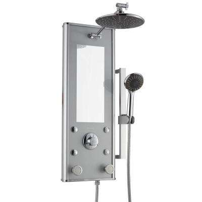 Shangri-La 30 in. Retrofit 6-Jet Shower System with Hand Shower in Silver Glass