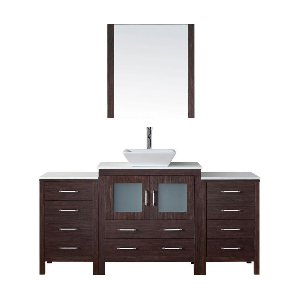 Dior 69 in. W Bath Vanity in Espresso with Stone Vanity