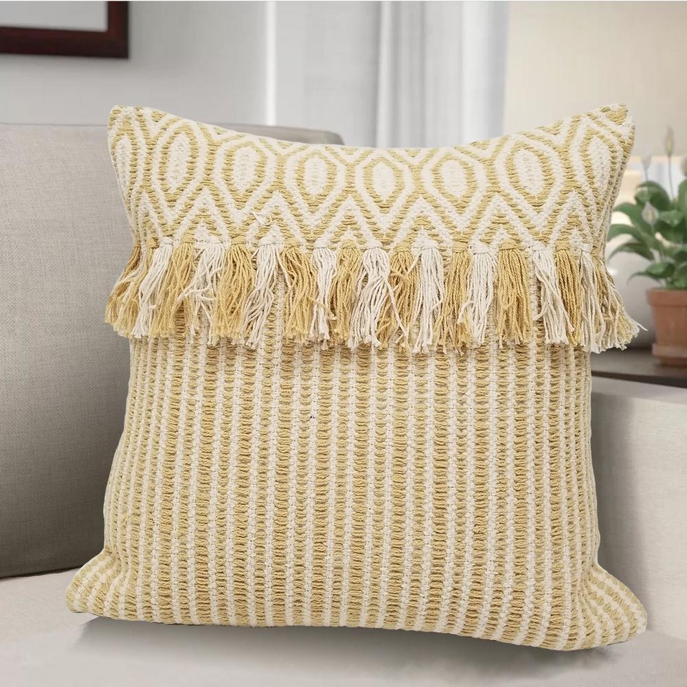 Demori AVANI Woven Decorative Pillow Cover Geometric Design and Fringe 13069