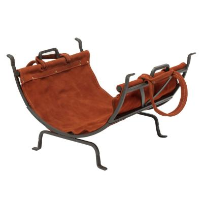 Black Decorative Steel Frame Firewood Rack with Removable Brown Suede Leather Log Carrier