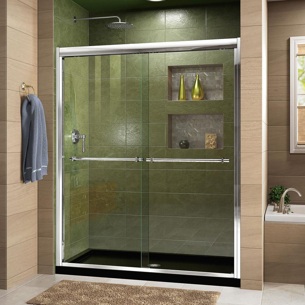 DreamLine Duet 36 in. x 48 in. x 74.75 in. H Semi-Frameless Sliding Shower Door in Chrome with Center Drain Shower Base
