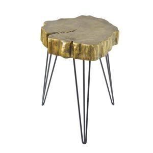 Gold Crosscut Tree Accent Table by