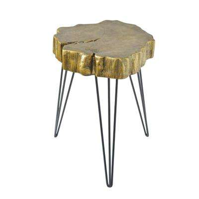 Gold Crosscut Tree Accent Table