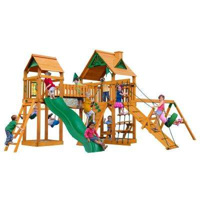 Pioneer Peak Wooden Swing Set with Tire Swing and Clatter Bridge