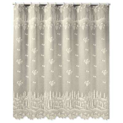 Pinecone 72 in. W x 72. in. L Ecru Lace Shower Curtain