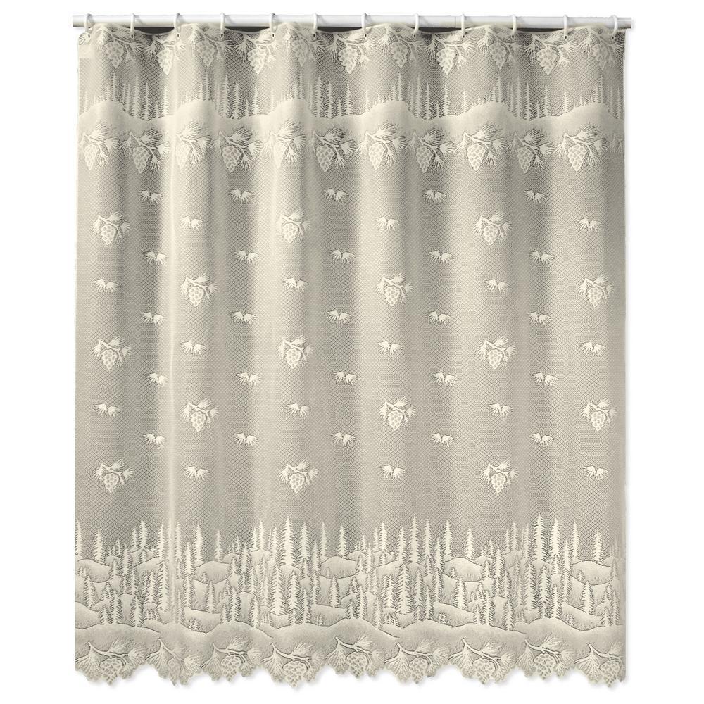 Pinecone 72 in. W x 72. in. L Ecru Lace Shower Curtain
