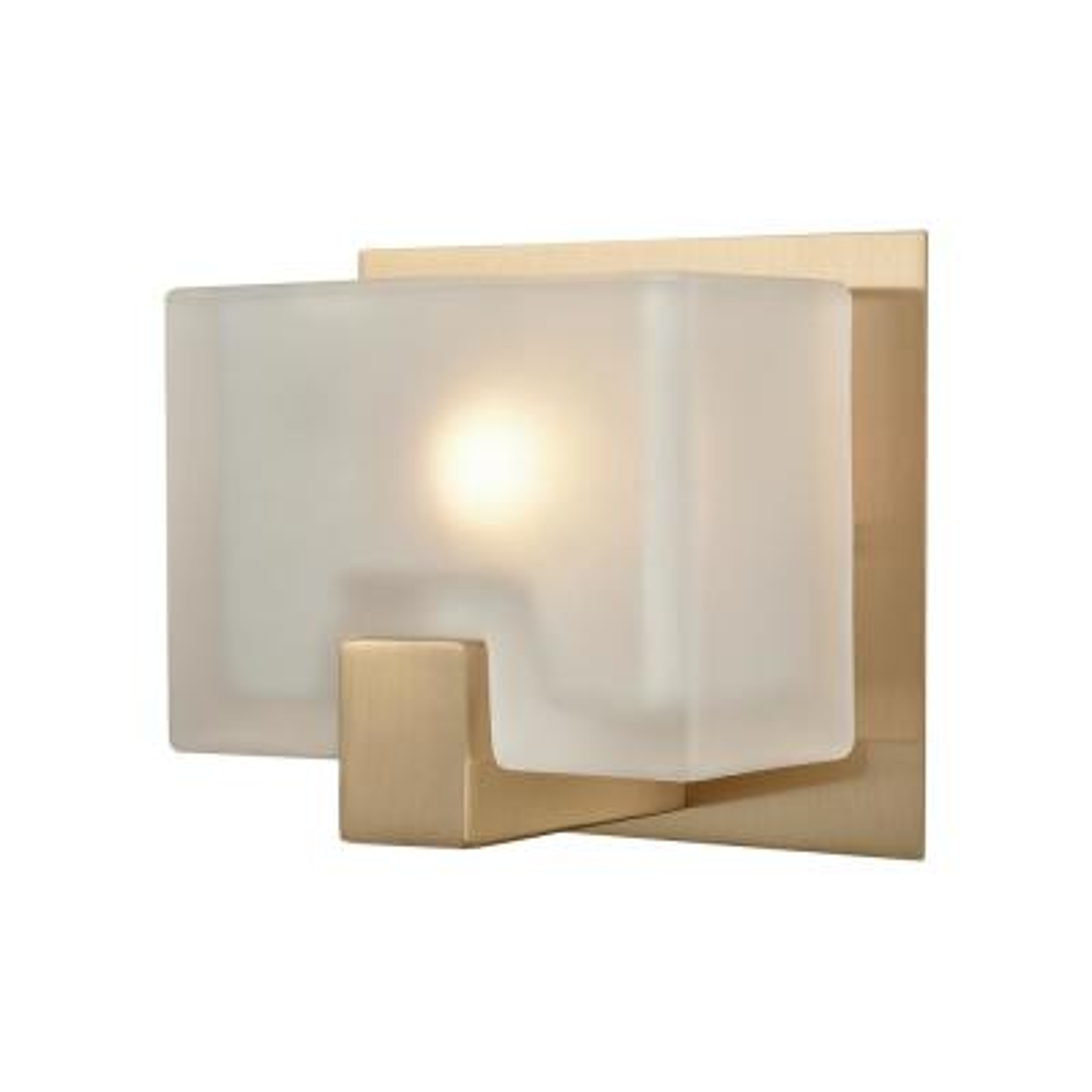 Ridgecrest 1-Light Satin Brass with Frosted Cast Glass Bath Light