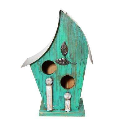 12 in. Tall Alpine Turqoise Artful Wooden Birdhouse