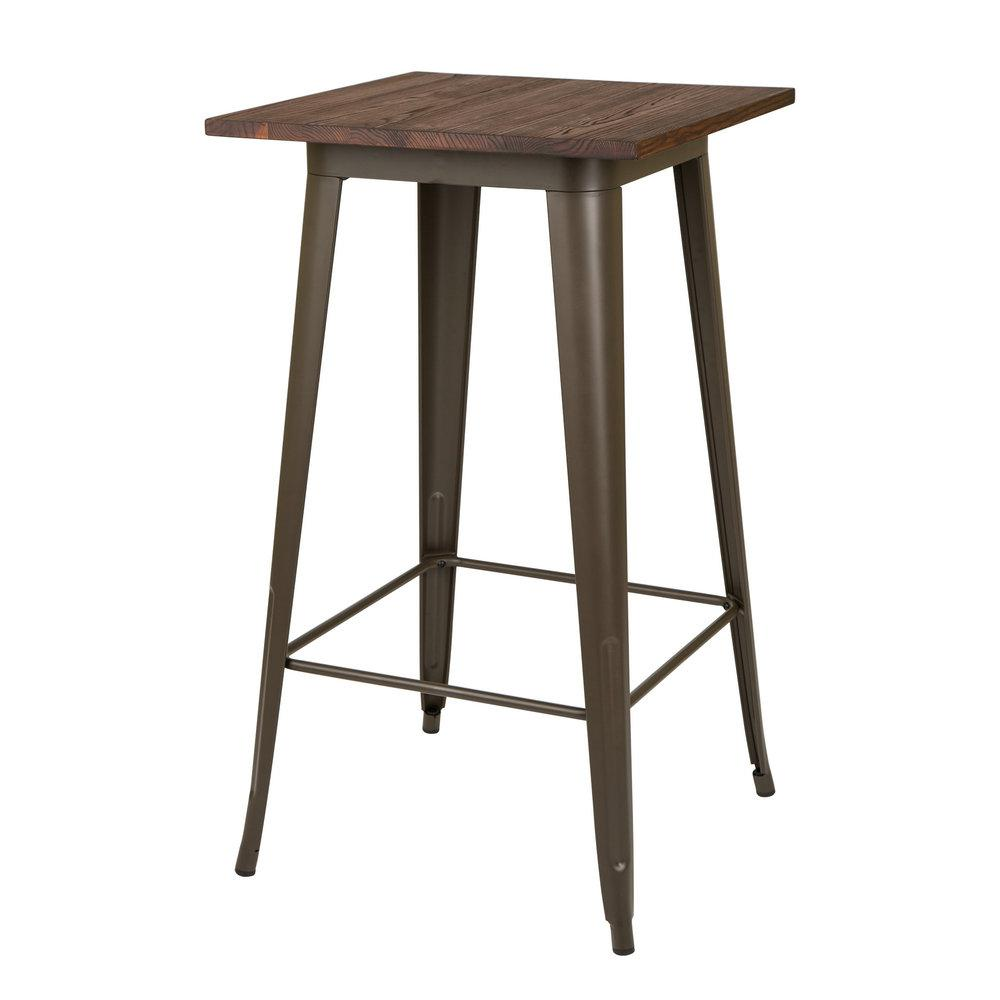 H coffee color rustic steel bar table with elm
