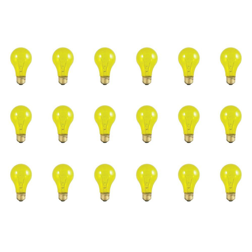 25-Watt A19 Transparent Yellow Dimmable Incandescent Light Bulb (18-Pack)
