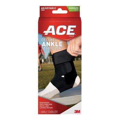 Adjustable Ankle Brace with Stabilizer Brace in Black