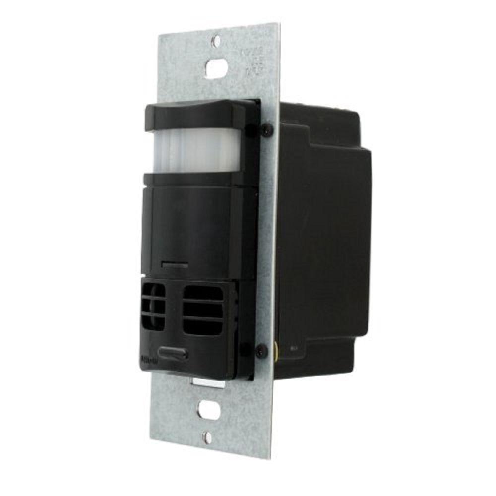 Multi-Technology PIR/Ultrasonic Wall Switch and Occupancy Motion Sensor, Black