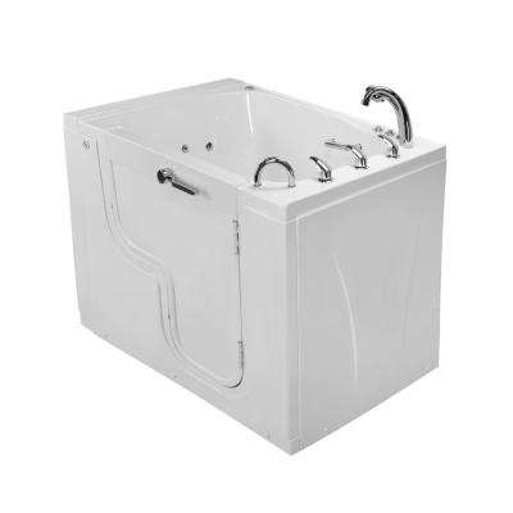 Wheelchair TransferXXXL 55 in. Walk-In Whirlpool and Air Bath Bathtub in White, Faucet Set, Heated Seat, RHS Dual Drain