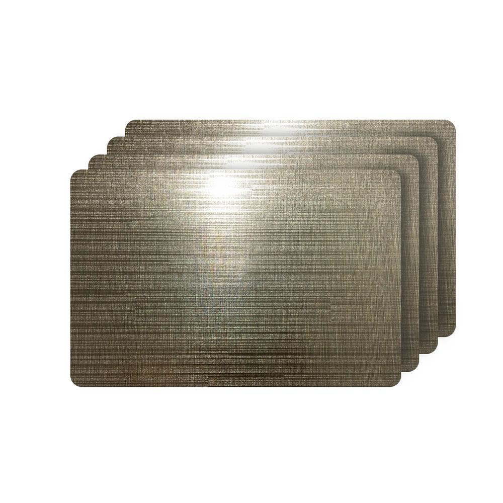 Emery Coffee Metallic Reversible Rectangular Placemats (Set of 4)