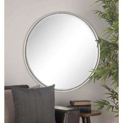 36 in. Round Metallic Gray Framed Wall Mirror