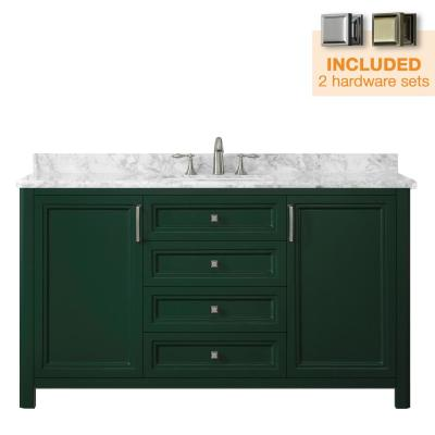 Sandon 60 in. W x 22 in. D Bath Vanity in Emerald Green with Marble Vanity Top in Carrara White with White Basin