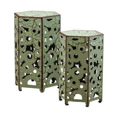 Jeffery Antique Green Hexagonal Metal Outdoor Accent Table