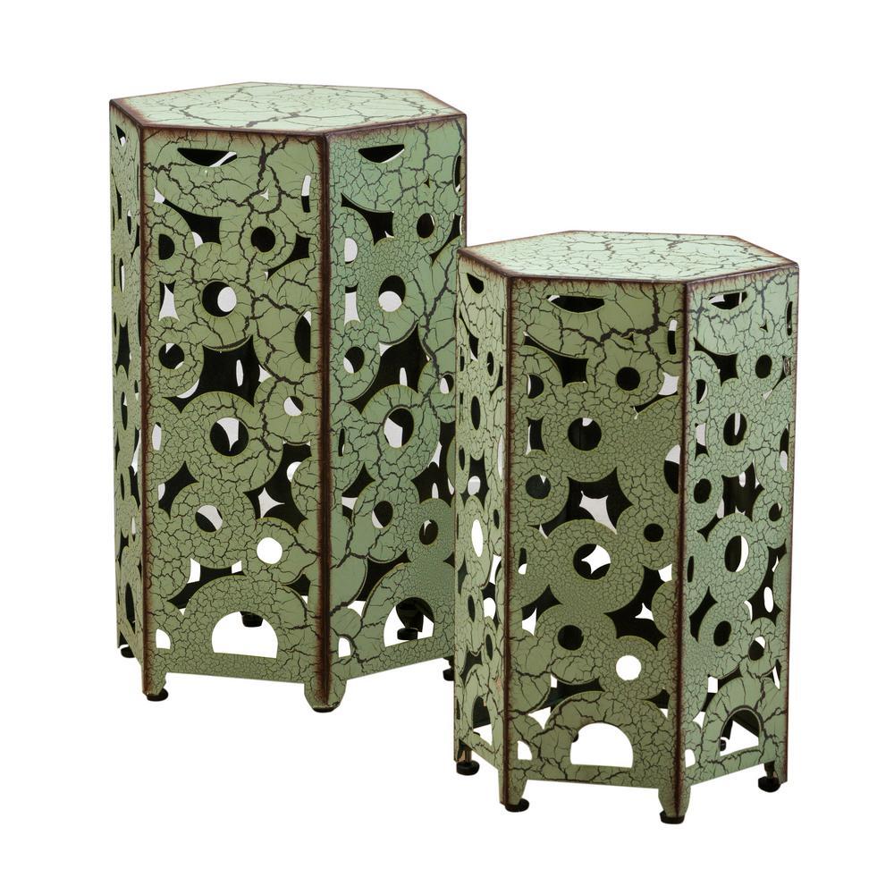 Jeffery Antique Green Hexagonal Metal Outdoor Accent Table