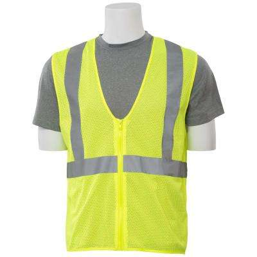 S363 XL Class 2 Economy Poly Mesh Zippered Hi Viz Lime Vest