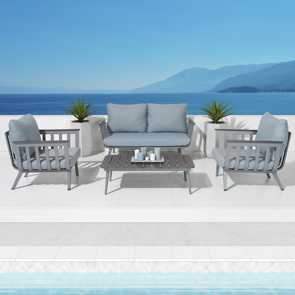 Attractive Vera 4 Piece Aluminum Patio Conversation Set With Sky Blue Cushions