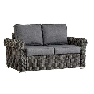 Camari Charcoal Rolled Arm Wicker Outdoor Loveseat with Gray Cushion