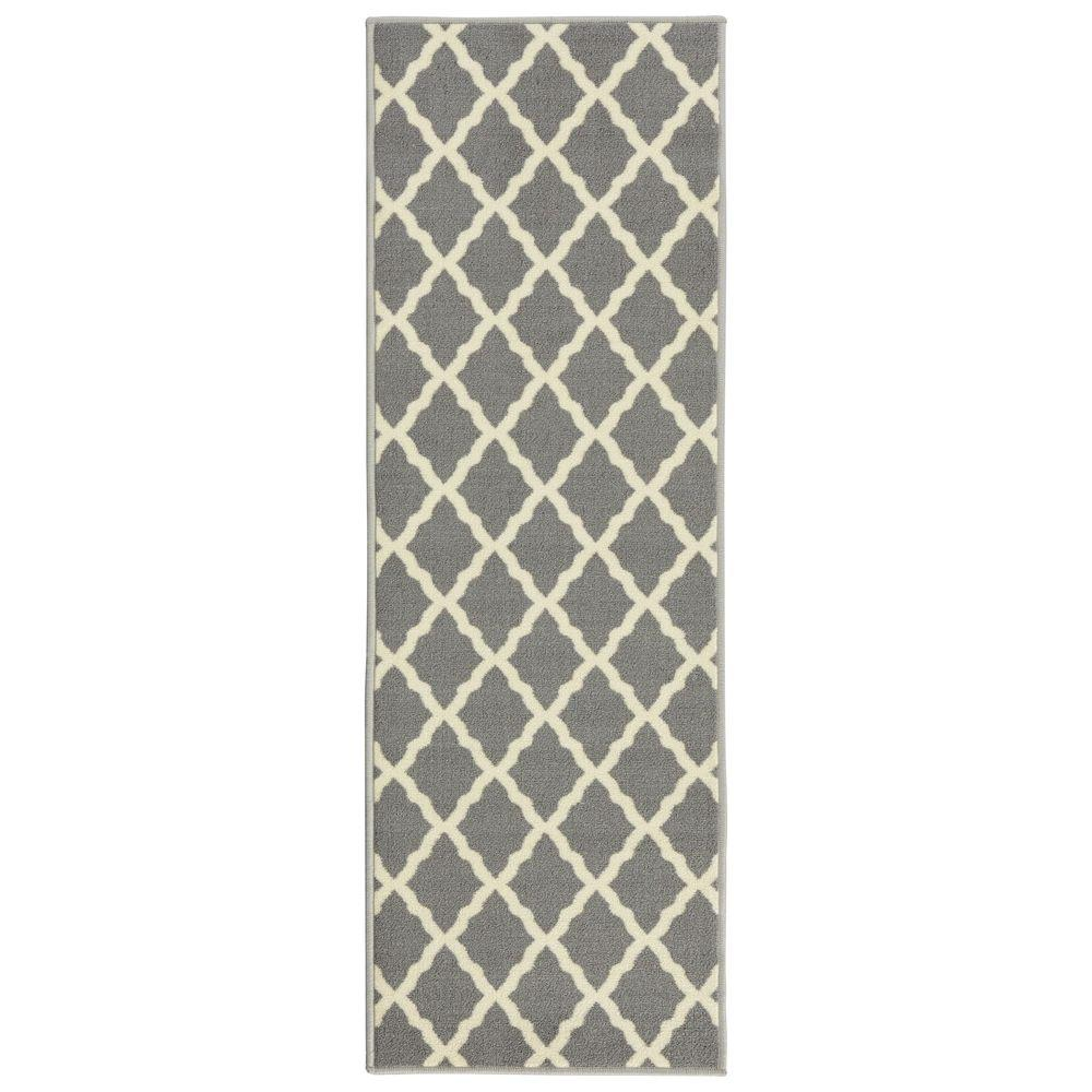 Glamour Collection Contemporary Moroccan Trellis Gray 2 ft. x 6 ft.