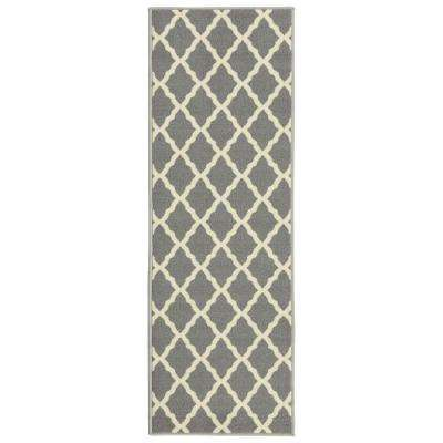 Glamour Collection Contemporary Moroccan Trellis Gray 2 ft. x 6 ft. Kids Runner Rug