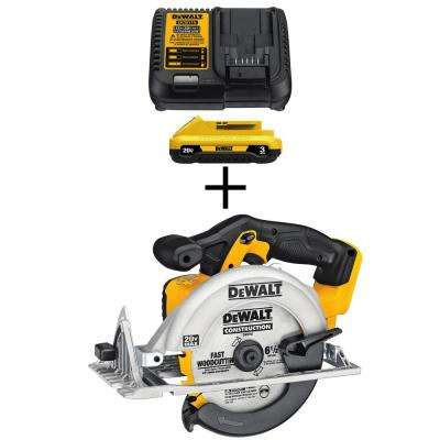 20-Volt MAX Lithium-Ion Battery Pack 3.0Ah and Charger with Bonus Bare 6-1/2 in. Circular Saw