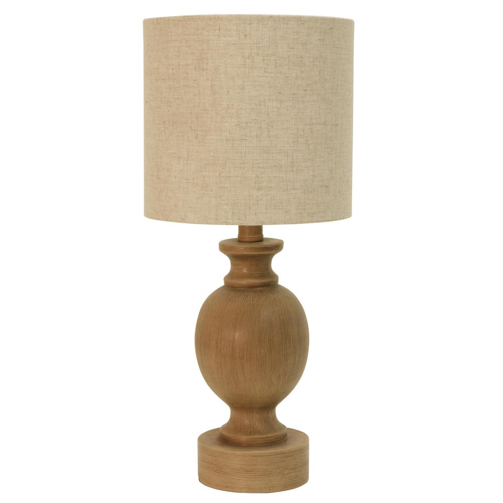 Farmhouse Barrel 19 25 In Beige Table Lamp With Shade