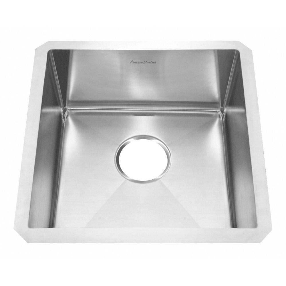American Standard Prevoir Undermount Brushed Stainless Steel 17x17x8 in. 0-Hole Single Bowl Kitchen Sink-DISCONTINUED