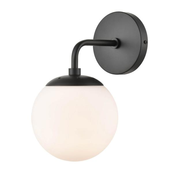 Light Society Zeno Globe Black Wall Sconce With White Shade Ls W264 Bk Wh The Home Depot