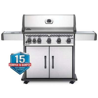 Rogue 5-Burner Propane Gas Grill with Infrared Side Burner in Stainless Steel