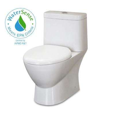 1-Piece 1.28 GPF Dual Flush Elongated Toilet in White
