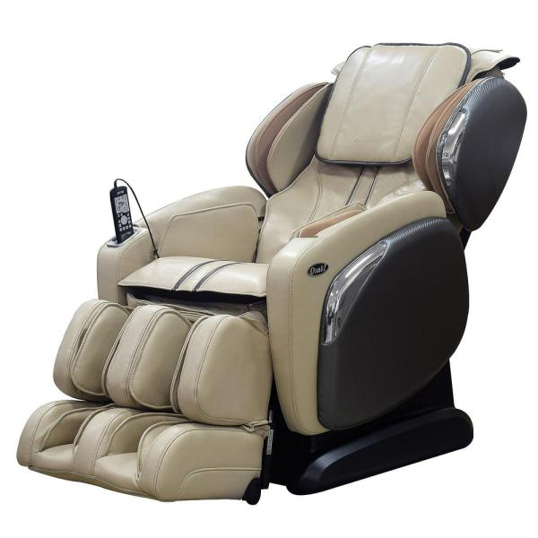 TITAN Osaki Ivory Faux Leather Reclining Massage Chair