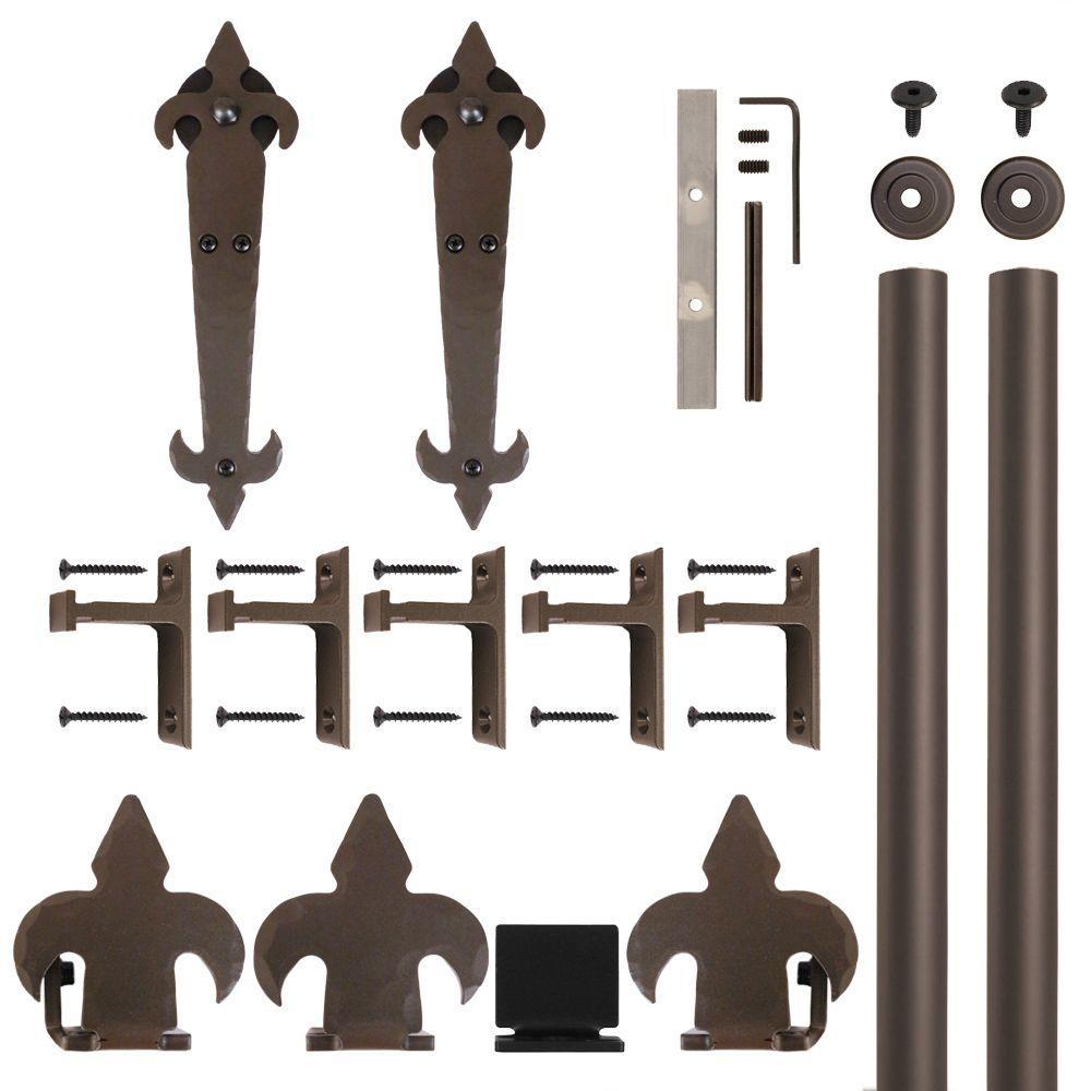 Fleur-De-Lis Oil Rubbed Bronze Rolling Door Hardware Kit for 1-1/2 in. to 2-1/4 in. Door